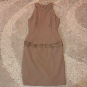 ANTONIO MELANI Fitted Cocktail Dress -Size 4- Tan